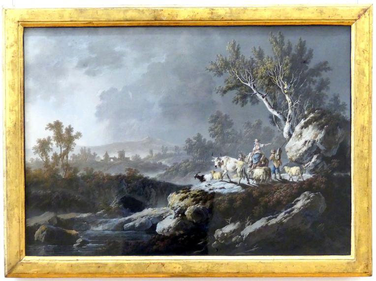 Jean-Baptiste Pillement: Südliche Berglandschaft mit einem Hirtenpaar, 1782