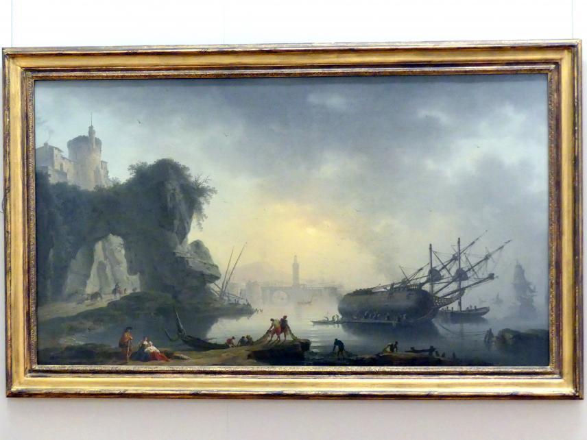 Charles François Lacroix: Südliche Küstenlandschaft am Morgen, 1750