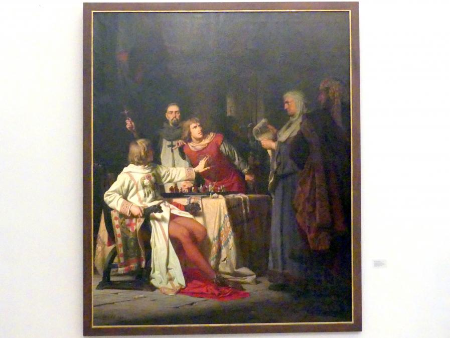 Anton von Werner: Konradin von Hohenstaufen und Friedrich von Baden wird 1268 zu Neapel im Kerker durch Robert von Bari auf Befehl Karls von Anjou das Todesurteil verkündet, 1866