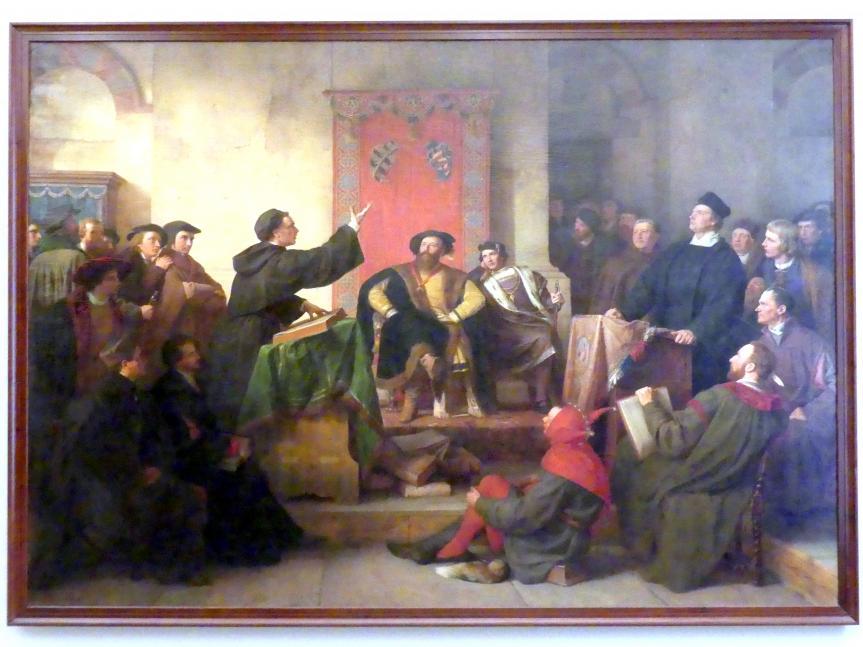 Carl Friedrich Lessing: Disputation zwischen Luther und Eck auf der Pleißenburg zu Leipzig im Jahre 1518, 1867