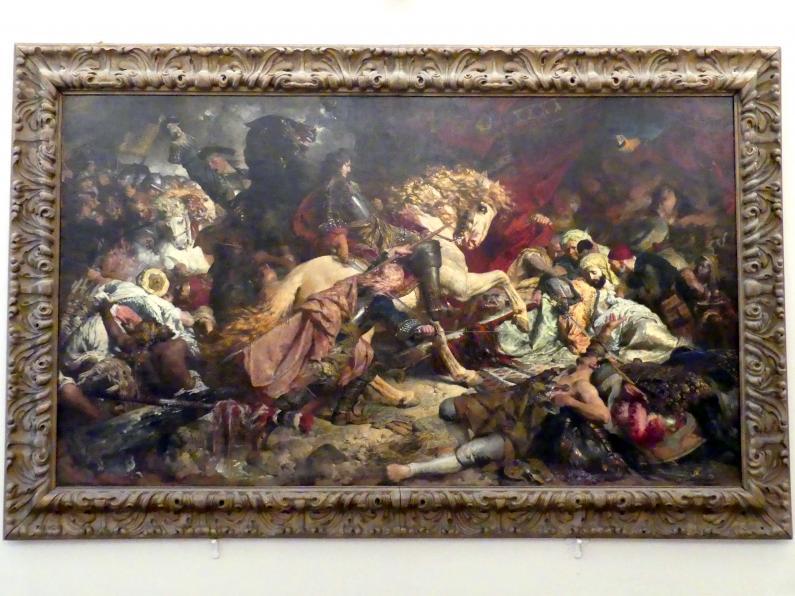 """Ferdinand Keller: Markgraf Ludwig Wilhelm von Baden, der """"Türkenlouis"""", reitet nach der Schlacht bei Salankamen (19.8.1691) in das Zelt des sterbenden Mustafa Köprili, 1879"""