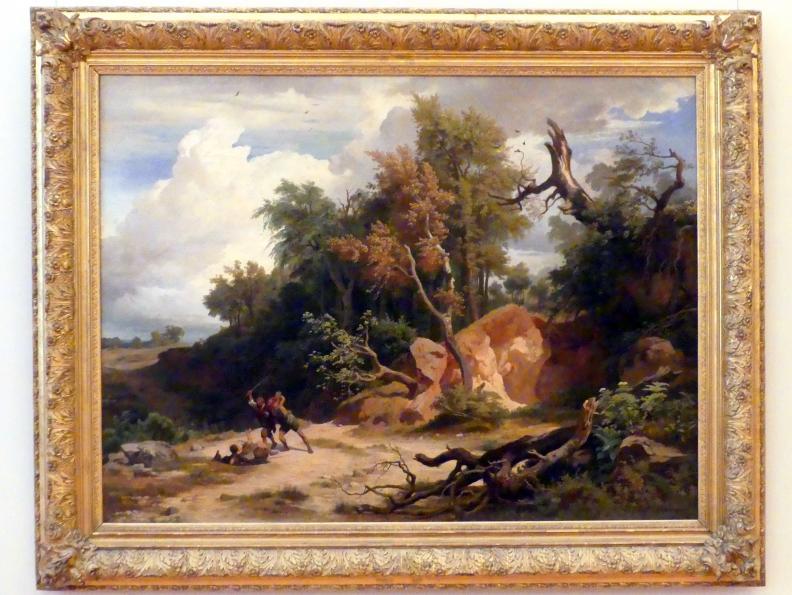 Johann Wilhelm Schirmer: Der Mittag (Der Überfall auf den Wanderer), 1857