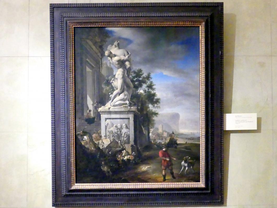 Jan Weenix: Südliche Landschaft mit Palastfassade und Denkmal, 1664