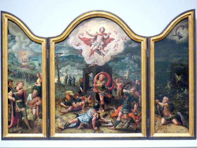 Pieter Coecke van Aelst: Flügelaltar mit Auferstehung Christi (Mitte), Nebukadnezar und die drei Männer im feurigen Ofen (links), Jona, vom Fisch ans Land gespien (rechts), um 1535