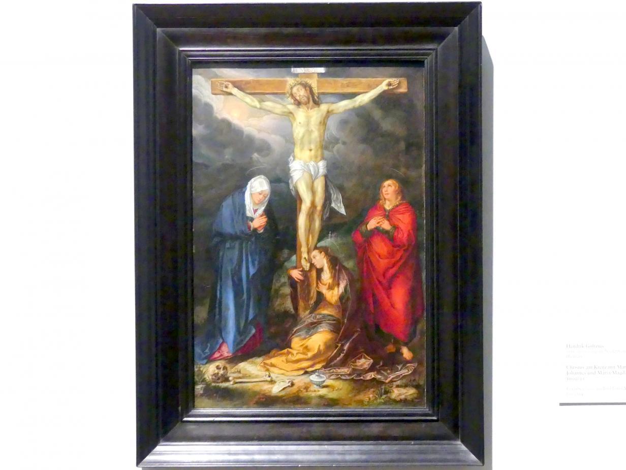 Hendrick Goltzius: Christus am Kreuz mit Maria, Johannes und Maria Magdalena, 1600 - 1601
