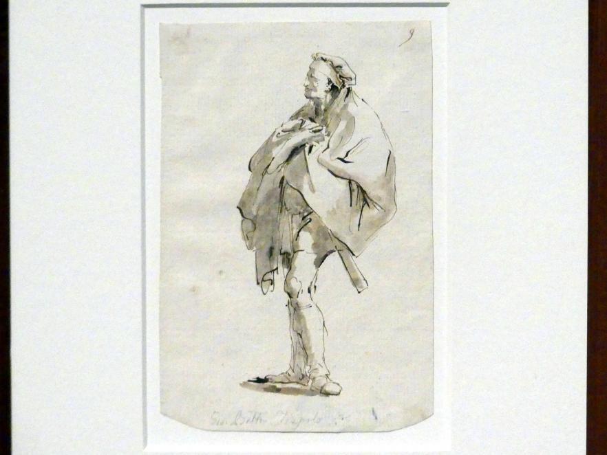 Giovanni Battista Tiepolo: Stehender im Tabarro nach links, um 1751 - 1757