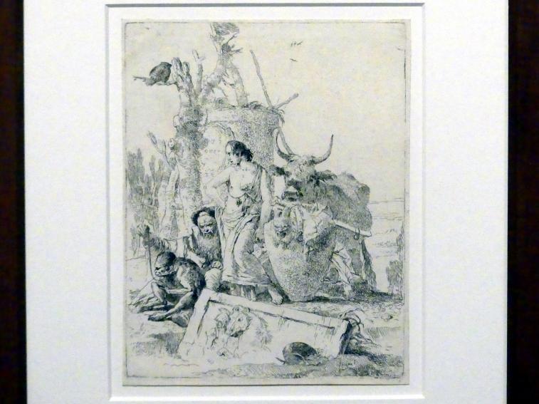 Giovanni Battista Tiepolo: Jüngling zwischen einem Philosophen mit Affen und einem Ochsen, um 1743 - 1757