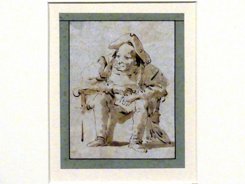 Giovanni Battista Tiepolo: Karikatur eines sitzenden verwachsenen Mannes (auf dem Nachtstuhl?), um 1754 - 1762