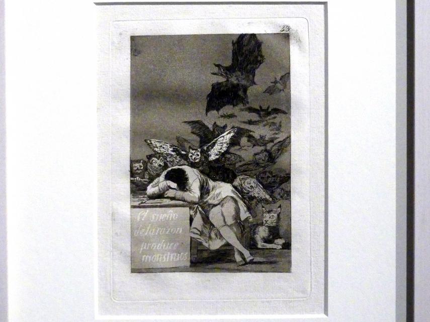 Francisco de Goya (Francisco José de Goya y Lucientes): Der Traum (Schlaf) der Vernunft gebiert Ungeheuer (Los Caprichos, 43), 1799