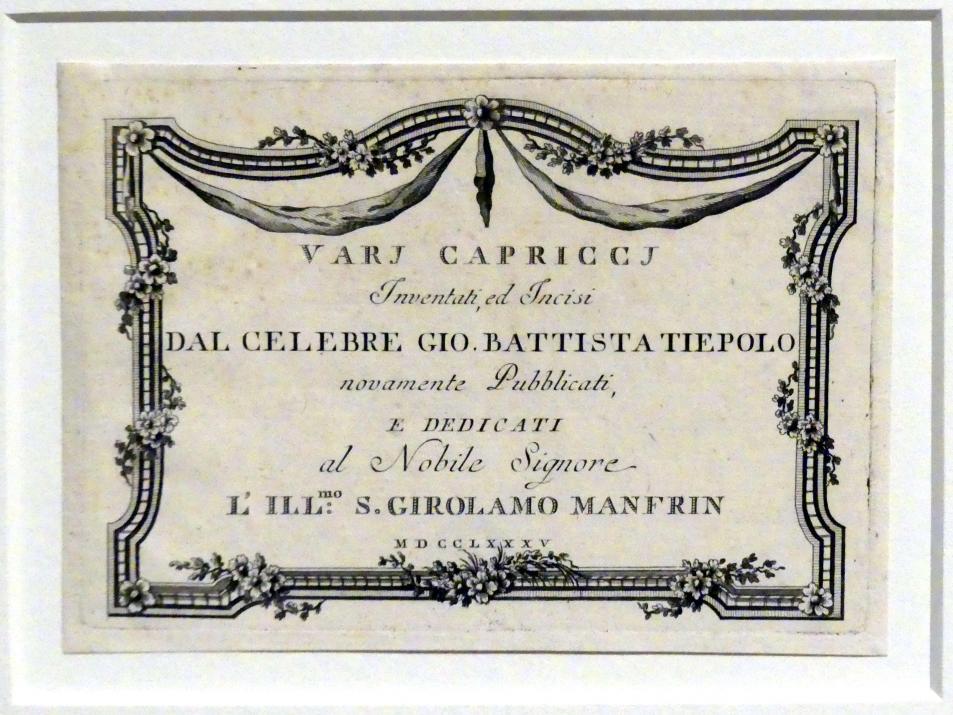 Giovanni Battista Tiepolo: Vari Capricci Titelblatt, 1785