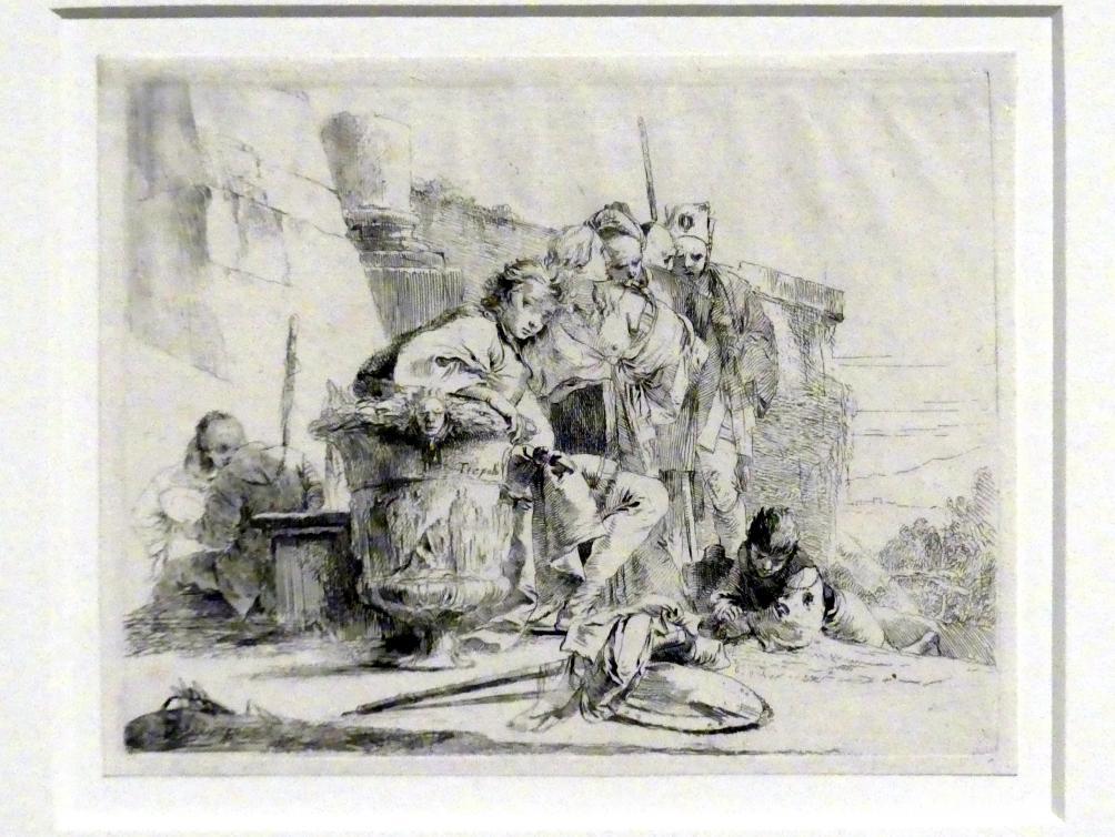 Giovanni Battista Tiepolo: Junger Mann bei einer Urne und weitere Figuren in einer Ruinenlandschaft, um 1740 - 1742