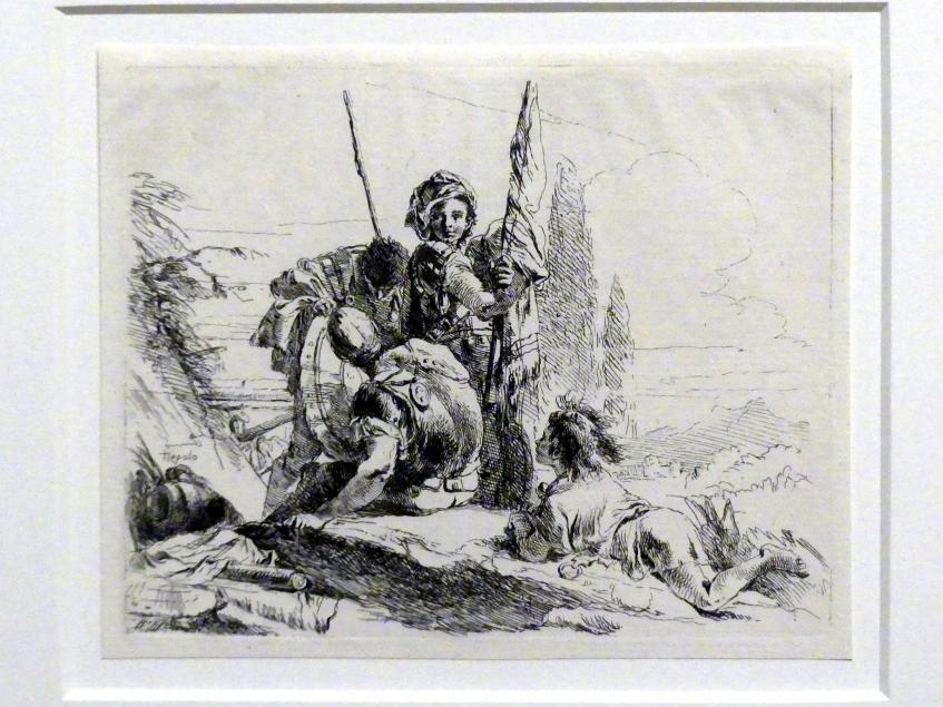 Giovanni Battista Tiepolo: Drei Soldaten und ein liegender Knabe, um 1740 - 1742