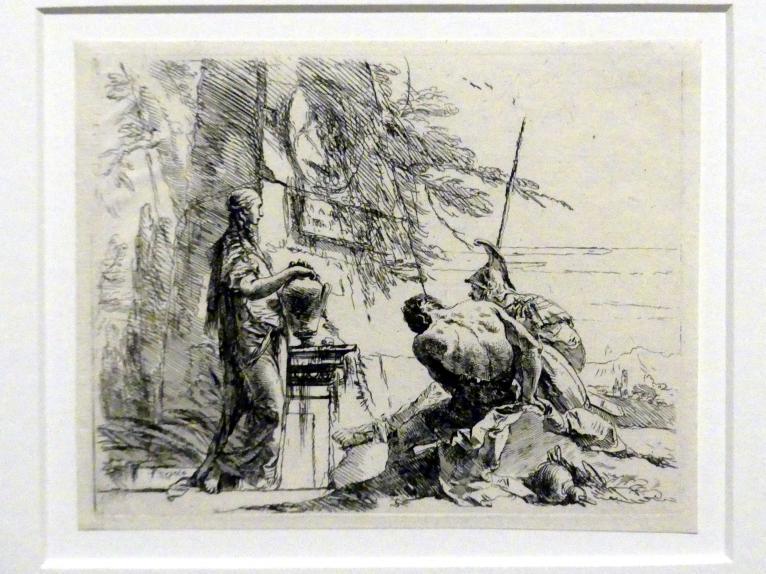 Giovanni Battista Tiepolo: Stehende Frau mit Vase und zwei Männer vor einem Obelisken, um 1740 - 1742