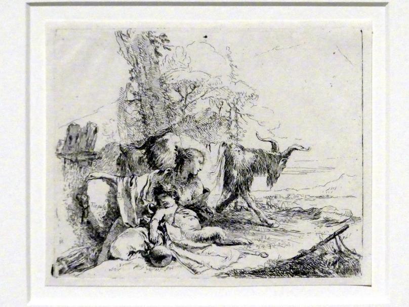 Giovanni Battista Tiepolo: Sitzende Frau mit Satyrknaben und Ziege, um 1740 - 1742