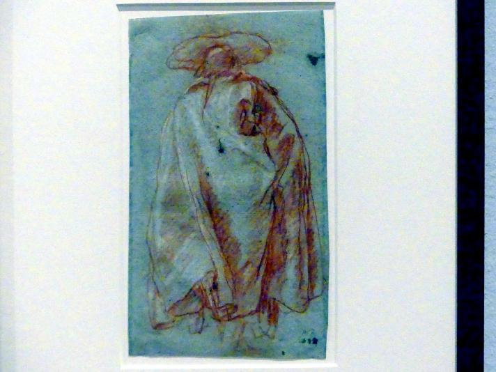 Giovanni Battista Tiepolo: Mann in Mantel und Hut von rückwärts gesehen, 1752