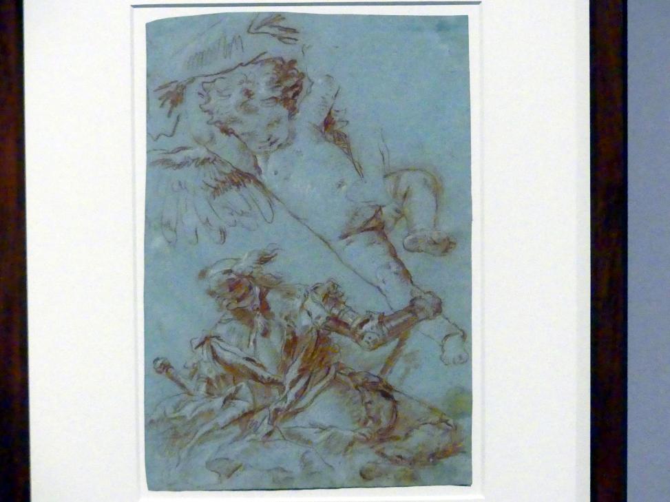 Giovanni Battista Tiepolo: Puttostudie, lagernder Hellebardier, 1750 - 1752