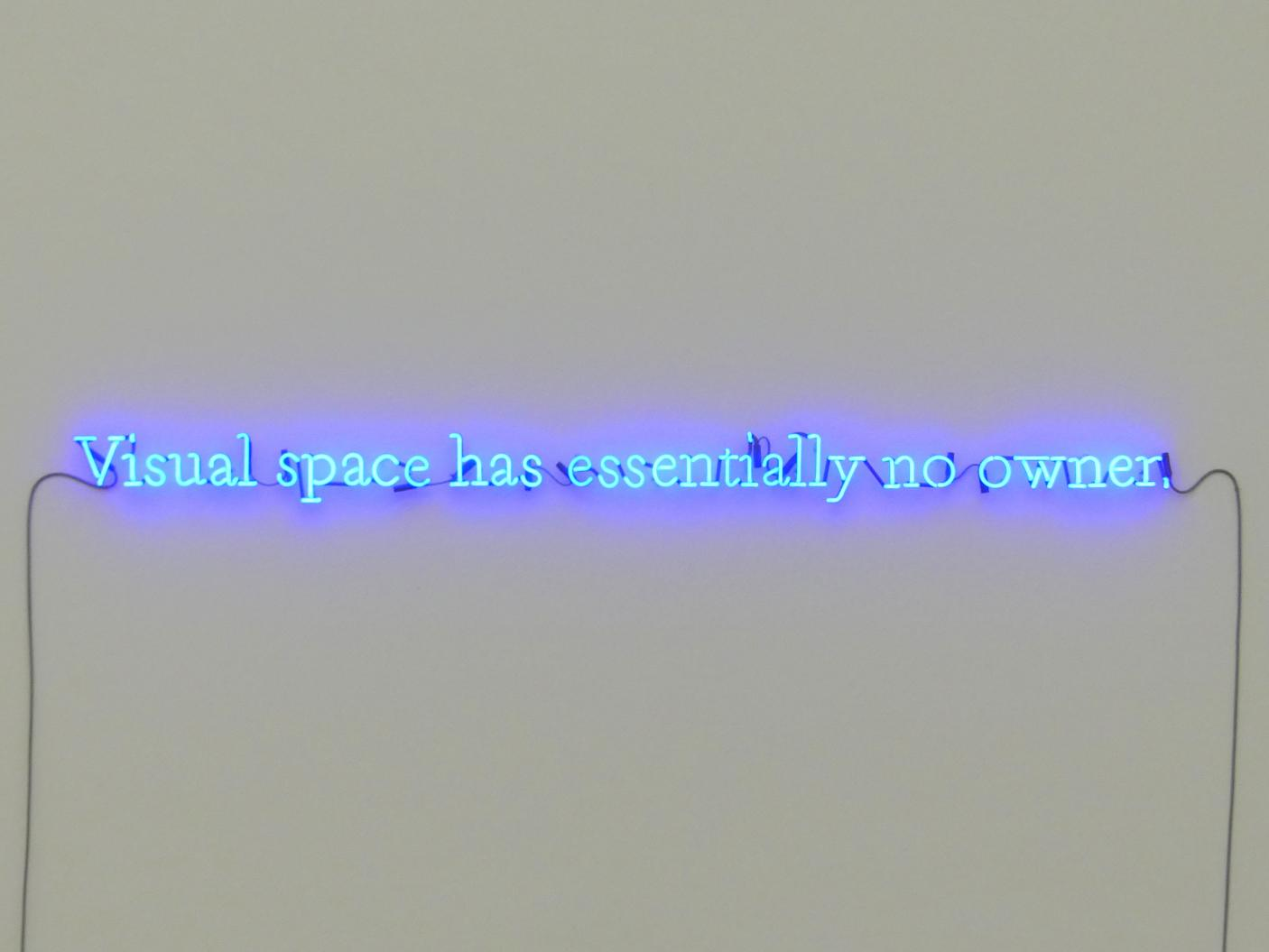 Joseph Kosuth: Visual space has essentially no owner, 1990