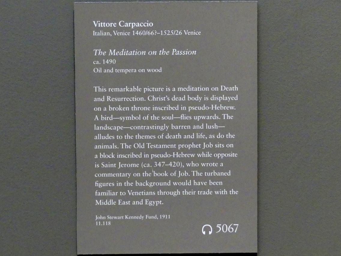 Vittore Carpaccio: Meditation über die Passion Christi, um 1490, Bild 2/2