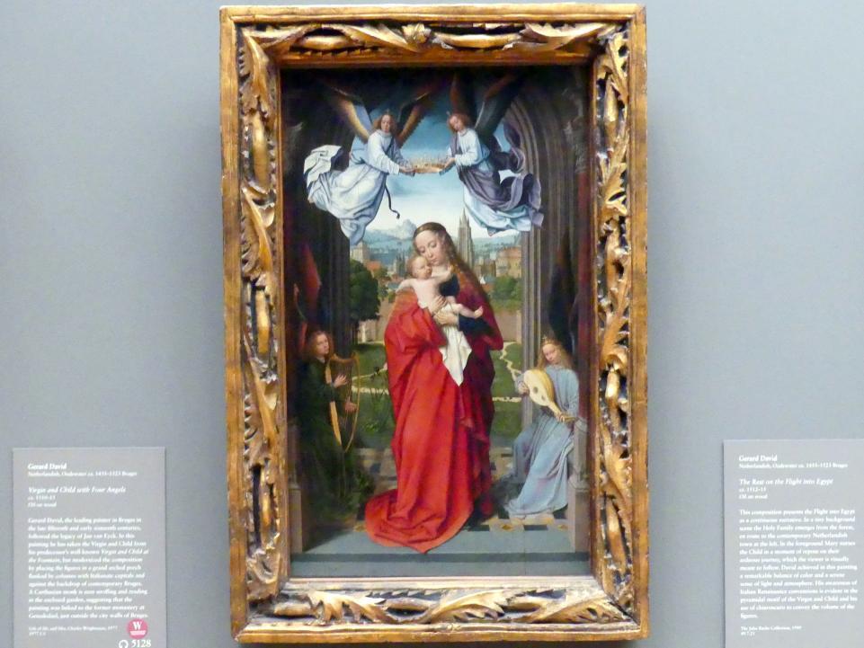 Gerard David: Maria mit Kind und vier Engeln, um 1510 - 1515