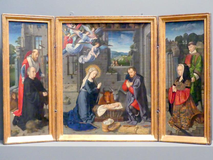 Gerard David: Christi Geburt mit Stiftern und den heiligen Hieronymus und Leonhard, um 1510 - 1515