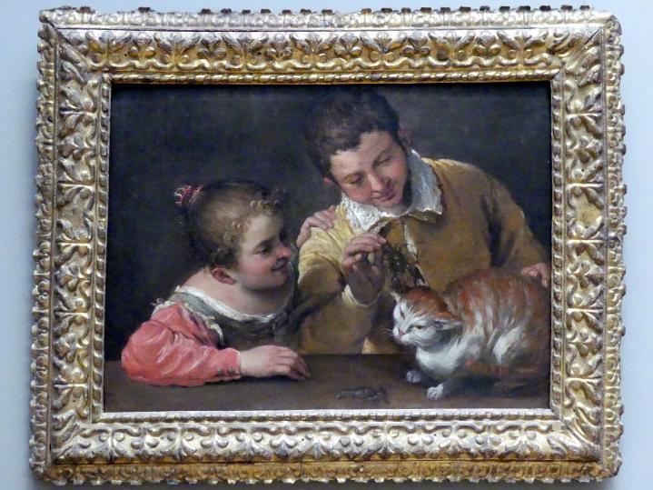 Annibale Carracci: Zwei Kinder necken eine Katze, Undatiert