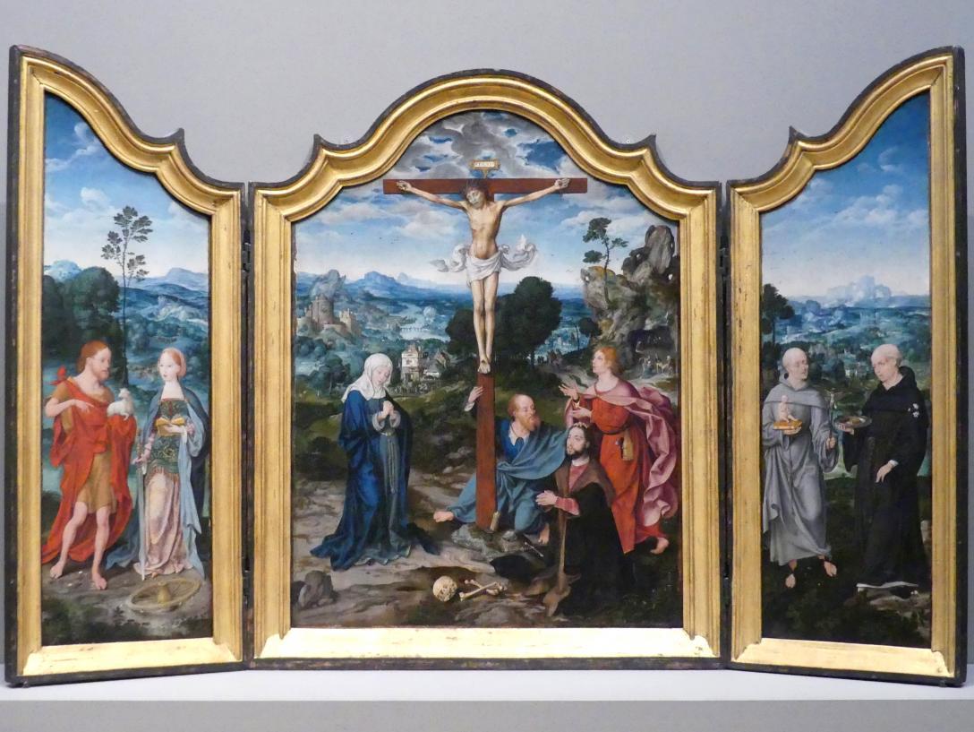 Joos van Cleve (Joos van der Beke): Gekreuzigter Christus mit Heiligen und einem Stifter, um 1520