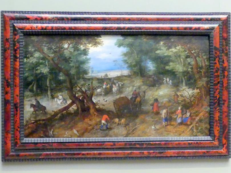 Jan Brueghel der Ältere (Blumenbrueghel): Eine Waldstraße mit Reisenden, 1607