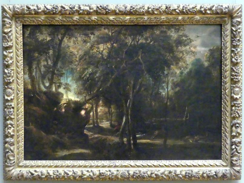 Peter Paul Rubens: Wald im Morgengrauen bei einer Hirschjagd, um 1635