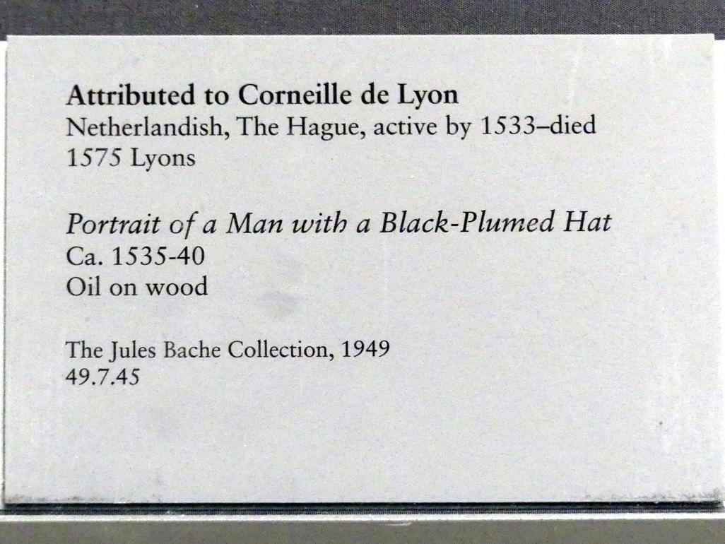 Corneille de Lyon: Porträt eines Mannes mit schwarz gefiedertem Hut, um 1535 - 1540