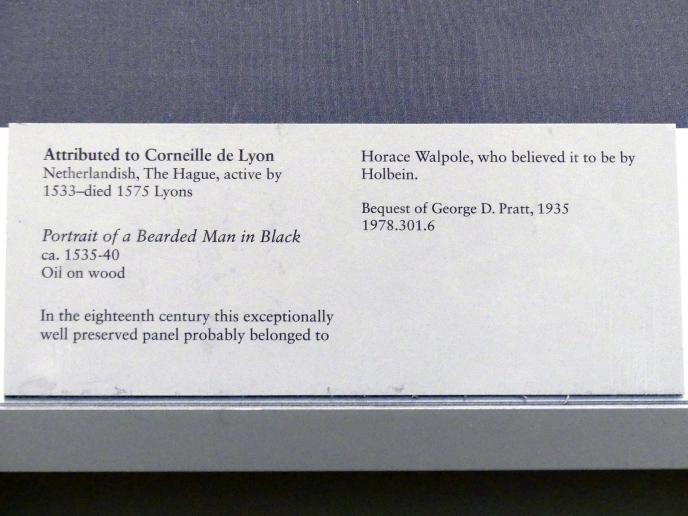 Corneille de Lyon: Porträt eines bärtigen Mannes in schwarz, um 1535 - 1540