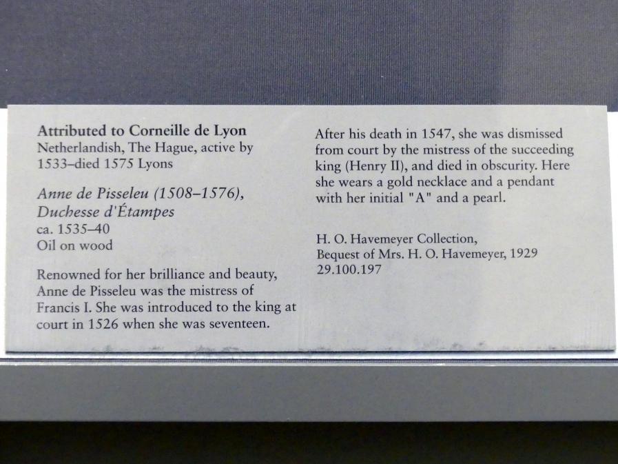 Corneille de Lyon: Anne de Pisseleu d'Heilly (1508-1580), Herzogin von Étampes, um 1535 - 1540