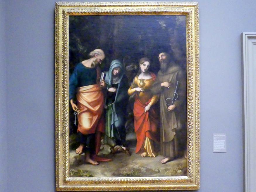 Antonio Allegri (Correggio): Die heiligen Petrus, Martha, Maria Magdalena und Leonhard, um 1515