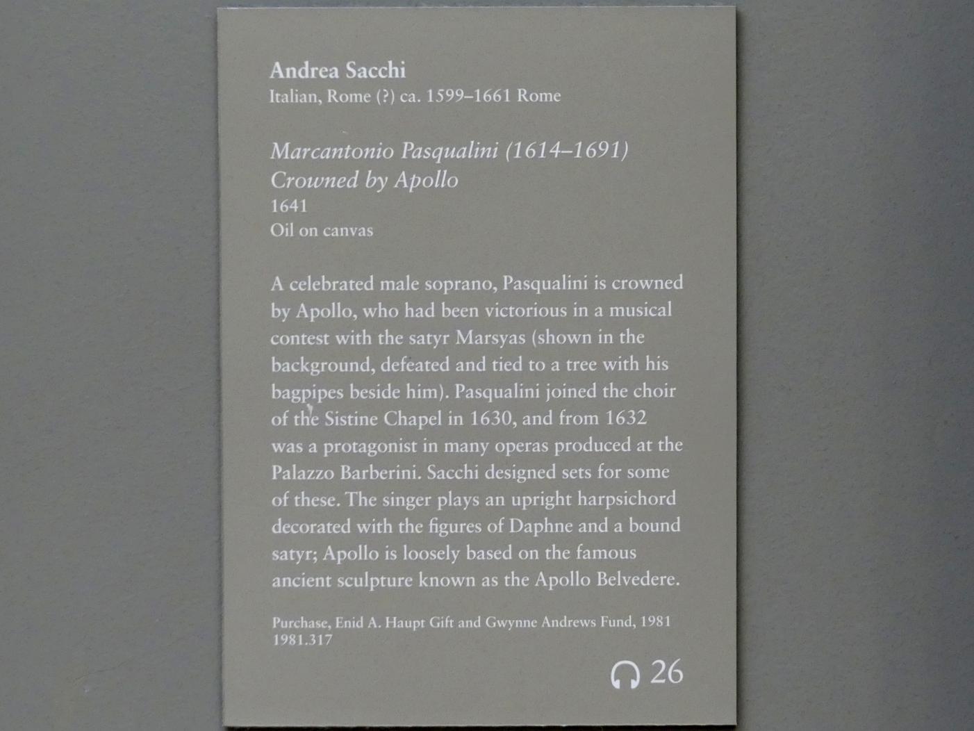 Andrea Sacchi: Krönung des Marc'Antonio Pasqualini (1614-1691) durch Apoll, 1641, Bild 2/2