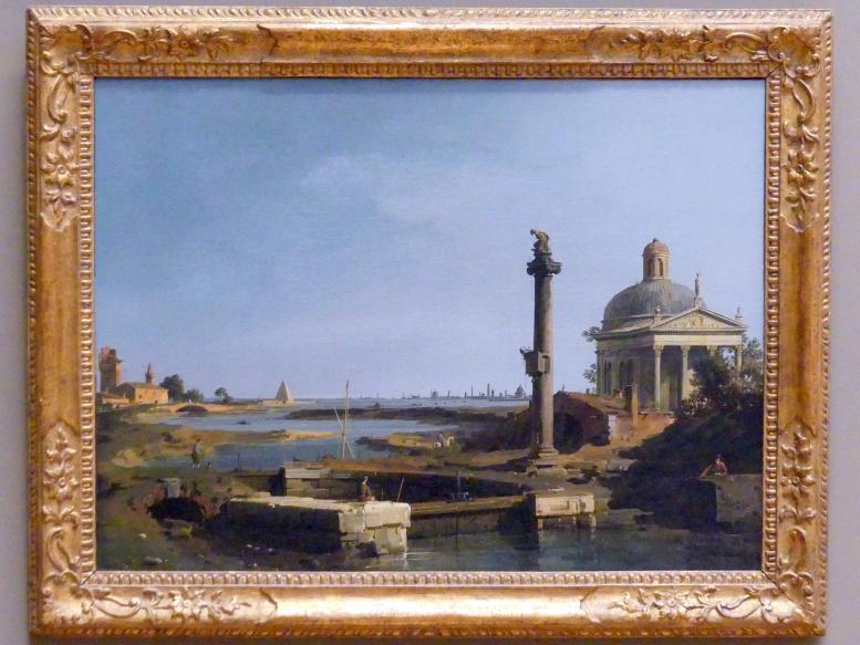 """Giovanni Antonio Canal (""""Canaletto""""): Ein Schloss, eine Säule und eine Kirche an einer Lagune, um 1740 - 1750"""