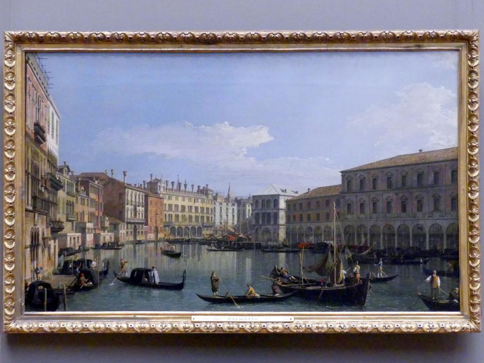 """Giovanni Antonio Canal (""""Canaletto""""): Der Canal Grande mit Blick in südlicher Richtung auf die Rialtobrücke, um 1730 - 1740"""