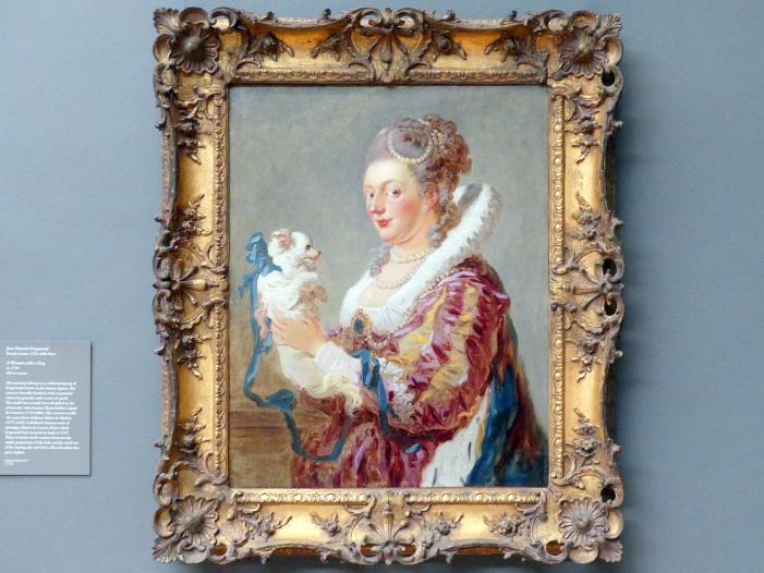 Jean-Honoré Fragonard: Porträt einer Frau mit einem Hund, um 1769