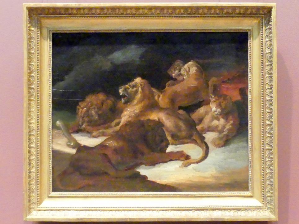 Théodore Géricault: Löwen in einer Gebirgslandschaft, um 1818 - 1820