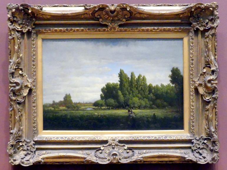Théodore Rousseau: Von Bäumen gesäumte Wiese, um 1845