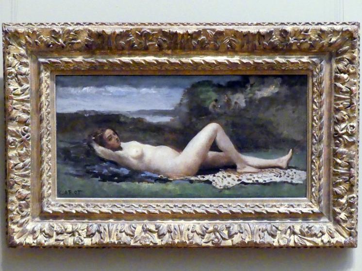 Jean-Baptiste Camille Corot: Bacchantin in einer Landschaft, um 1865 - 1870