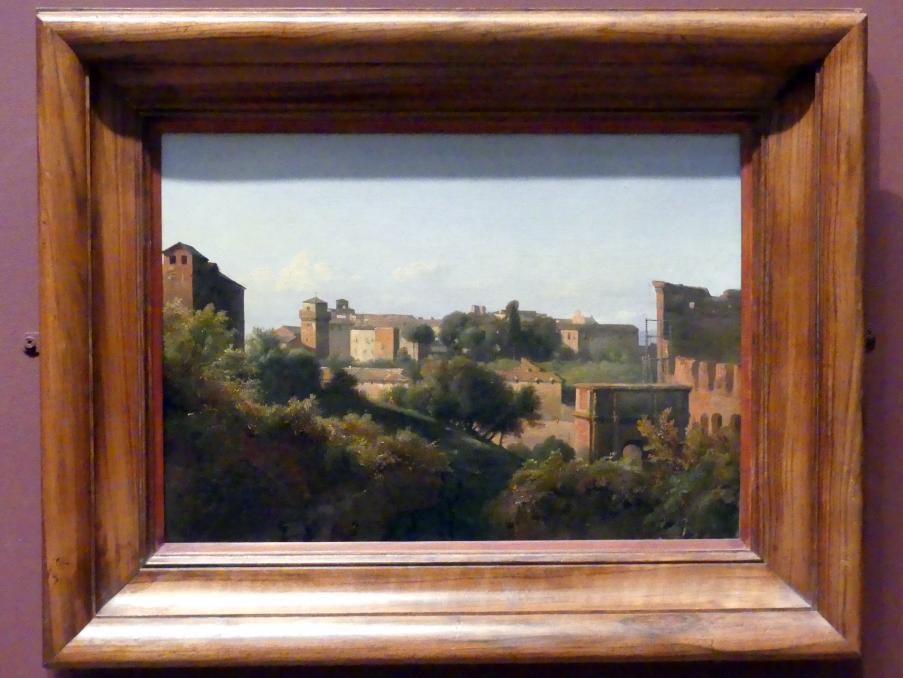 Jean-Charles-Joseph Rémond: Blick vom Palatin auf das Kolosseum und den Konstantinsbogen in Rom, um 1822 - 1824
