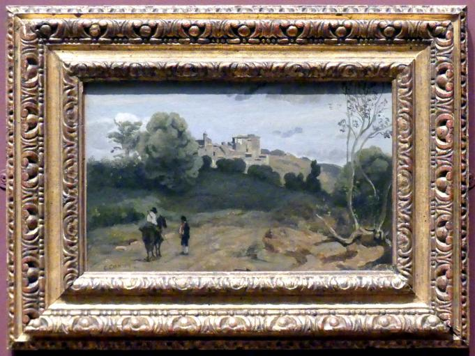 Jean-Baptiste Camille Corot: Blick auf Genzano mit einem Reiter und einem Bauern, nach 1843