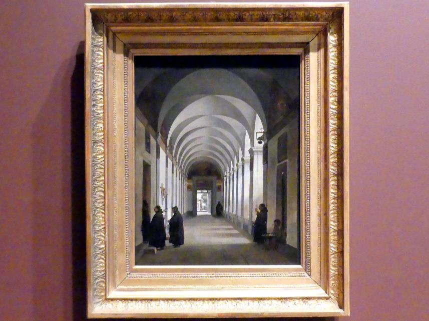 François-Marius Granet: Mönche im Kreuzgang der Kirche Gesù e Maria, Rom, 1808