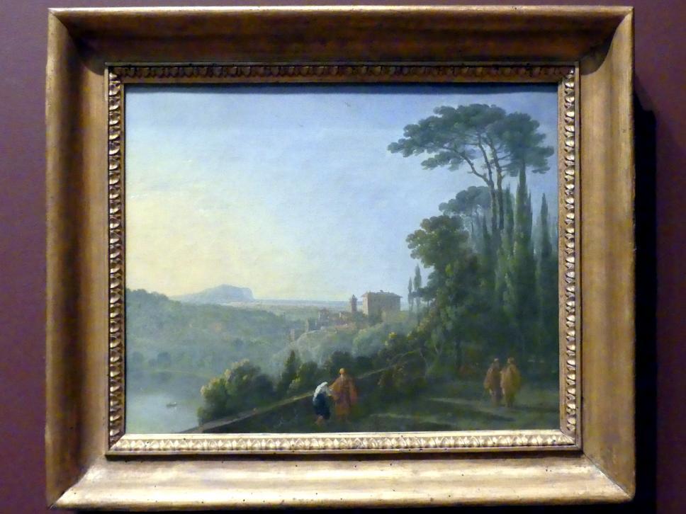 Richard Wilson: Der Nemisee und Genzano von der Terrasse des Kapuzinerklosters, um 1748 - 1752