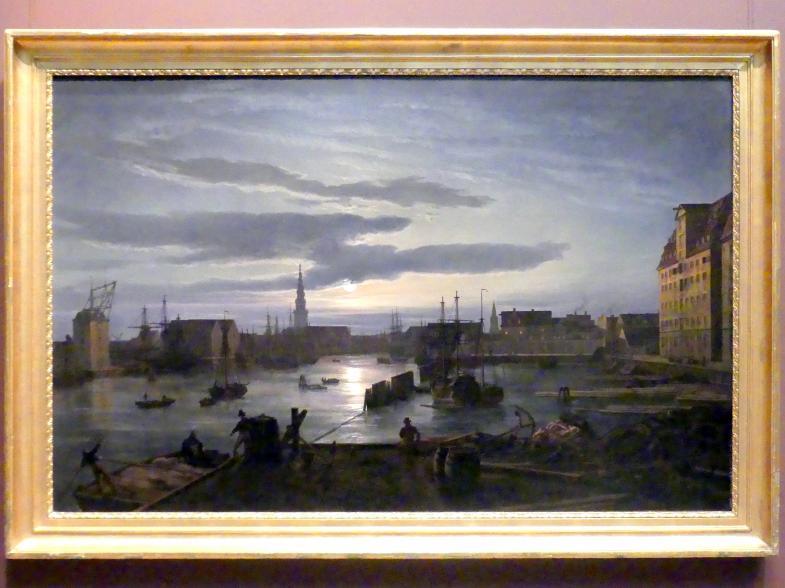 Johan Christian Clausen Dahl: Kopenhagener Hafen bei Mondschein, 1846