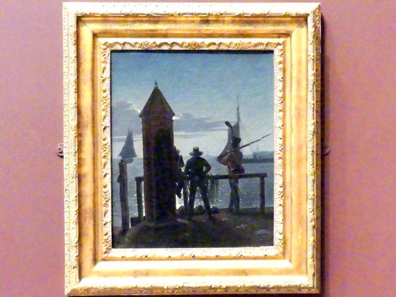 Martinus Rørbye: Blick von den Zitadellenmauern auf Kopenhagen bei Mondschein, 1839