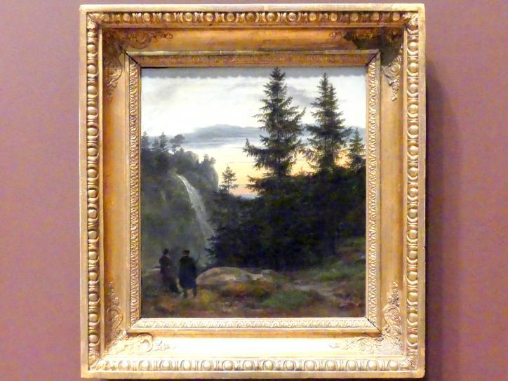 Johan Christian Clausen Dahl: Zwei Männer vor einem Wasserfall bei Sonnenuntergang, 1823