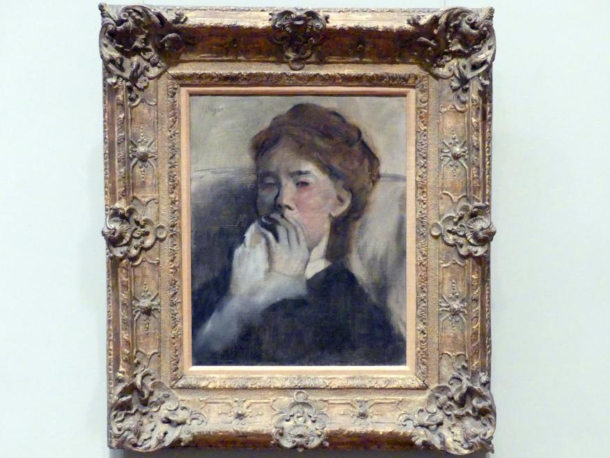 Edgar Degas: Junge Frau, ihre Hand vor dem Mund, um 1875