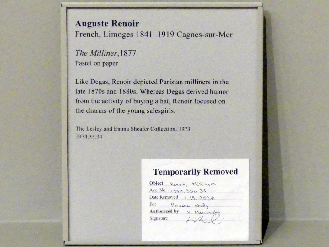 Auguste Renoir (Pierre-Auguste Renoir): Der Hutmacher, 1877