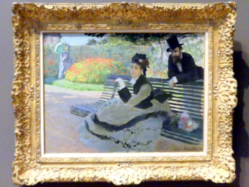 Claude Monet: Camille Monet (1847-1879) auf der Gartenbank, 1873