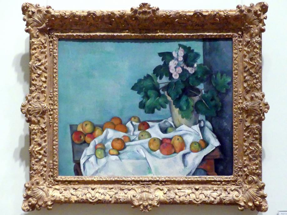 Paul Cézanne: Stillleben mit Äpfeln und einem Topf Primeln, um 1890